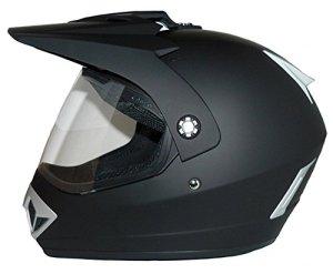 Protectwear casque de motocross / Enduro, noir mat, avec visière rabattable claire, V370, Taille: M
