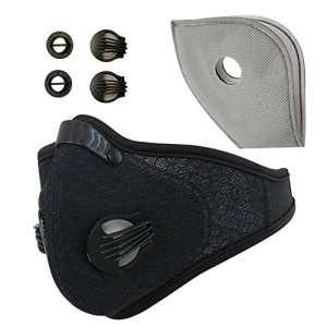 à la poussière Masque, Anqier Masque gaz d'échappement de filtration anti Pollen Allergy avec maille respirante filtre Masque à poussière pour course à pied pour moto et d'autres activités de plein air, Black[2 Pack]