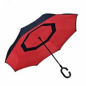 aigumi innovant coupe-vent parapluie pliable Envers Double Couche soleil Bloc l'environnement bumbershoot, Rouge/Noir