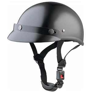Casque Biker Noir Brillant pour Shows et rassemblements Moto Custom (XL)