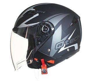 Casque de moto FACE OUVERTE – Pare Soleil Interne – JET Helm – Double Visière Scooter JAUNE – M (57-58cm)