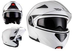 MOTO F19 Matt Black · Urban Flip-Up Cruiser Scooter Helmet Mofa Moto Integral Casque Modular · ECE certifiés · deux visières inclus · y compris le sac de casque · Blanc L (59-60 cm)