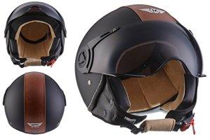 Moto Helmets H44 Bobber Vintage Chopper Demi-Jet Helmet Scooter Chopper Pilot Retro Biker Vespa Moto Mofa Casque Jet Cruiser, Noir (Vintage Black), XS (53-54cm)
