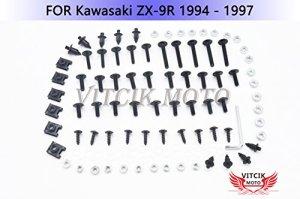 VITCIK Kits de boulons pour moto Kawasaki ZX9R 1994 1995 1996 1997 ZX-9R 94 95 96 97 attaches aluminium CNC (Noir & Argent)