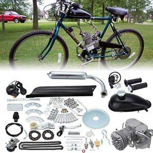 Ambienceo 80cc 2 temps cycle de la pédale essence gaz moteur kit de conversion de vélo pour vélo motorisé argent