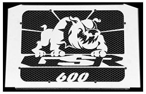 cache radiateur inox poli Suzuki 600 GSR 06>11 design «Bulldog» + grillage noir