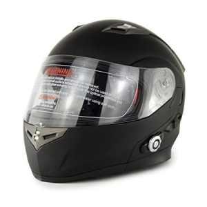 Zyy Casque, (casque Bluetooth) (ABS) en plein air moto équitation blanc noir Double lentille ouverture casque intégré Bluetooth Walkie-talkie (taille : M)