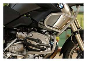 MotorbikeComponents, Kit Tank Protection Tubular and crash Bar en Iron Silver Painted–BMW R 1200GS/Adventure 2011