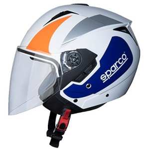 BHR 09837 Casque Moto, Blanc/Orange, Taille XL