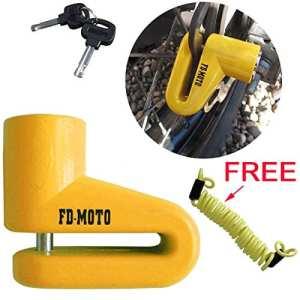 FD-MOTO FD109 Master Lock Cadenas Antivol Bloque Disque de Frein pour moto/scooter/2-roues Jaune, antivol avec 1.5M Corde de Rappel
