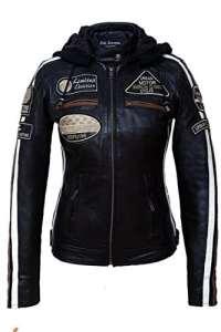 Urban Leather UR-153 Veste de Moto pour Femmes avec Protections, Noir, M