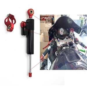 CNC AMORTISSEUR DE DIRECTION Steering Damper pour Aprilia Ducati Honda Suzuki kawasaki BMW Triumph Longueur 255MM noir&rouge