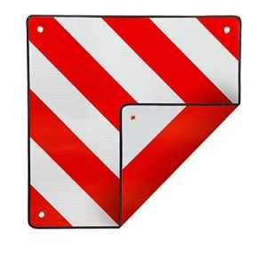 ECD Germany Panneau de signalisation arrière reflechissant rouge et blanc 50×50 cm pour l'Espagne et l'Italie Signalisation porte velo