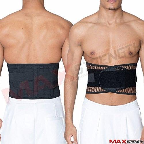 Maxstrength Ceinture de soutien lombaire avec double velcro Taille M/L/XL noir Noir xx-large