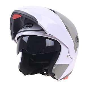 Moto Casque Rétro Visage Complet Casque Combiné Double Lentille M, L, XL, XXL(XL,White)