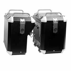 MyTech Kit de valises Noires Droite 47litres déléguée 41litres et châssis de Fixation dégagement Rapide pour–Honda CRF 1000L Afrique Twin 2018/CRF 1000L Afrique Twin Adventure Sports 2018