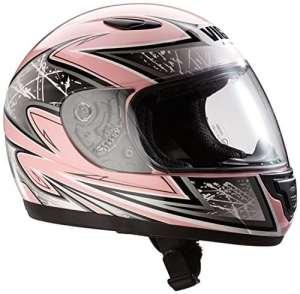 protectWEAR Casque moto pour enfant/fille, rose/argenté, SA03-PK, Taille: XS/Youth L (52/53 cm)