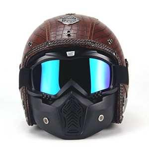PU Cuir Visage Complet Harley Helm Super PDR 3/4 Casque Moto Scooter Visière ouverte de casque de vélo avec le masque de masque pour toute l'année autour (Marron, L(59-60cm))