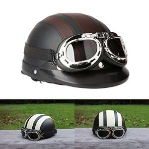 ViZe Casque Bol Demi Ouvert Casque Moto Protection Motocyclette Unisex Avec Visière et Écharpe 54-60cm (Brun)