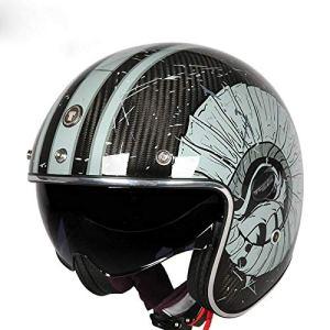 BCX Casque XCF, Fibre de Carbone, Casque rétro Portable d'été à moitié Couvert de Moto Homme,E,2XL