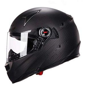 BCX XCF Casque, Fibre de Carbone, Hommes Femmes Casque de Moto léger Double lentille airbag Casque intégral,B,L