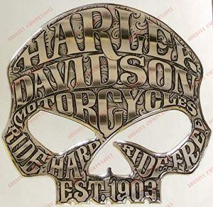 Emblème Logo Decal Harley Davidson, Skull Willie G, adhésif en résine, Effet 3D. pour réservoir ou Casque. Couleur: Argent