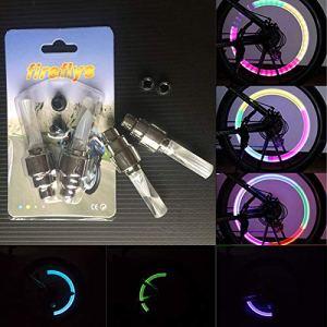 Icycheer 2pcs Multi Couleur LED Neon Car Bike Pneu de roue de valve de pneu Cap Spoke lumières Vélo Roue de vélo Pneu Pneu Bouchon de valve lampe