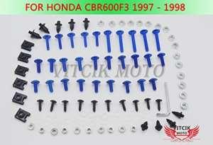 VITCIK Kits de boulons pour moto Honda CBR600 F3 1997 1998 CBR 600 F3 97 98 attaches aluminium CNC (Bleu & Argent)