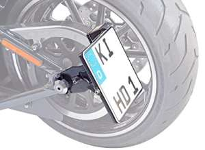 latérale d'immatriculation 180x 200mm pour Harley Davidson Softail Special flstfb, flstfbs + TÜV de Partie gutachten, LED éclairage de plaque minéralogique et matériel de montage
