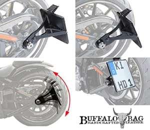 latérale d'immatriculation 180x 200mm pour Harley Davidson Softail standard fxst, EVO-Softail avec Certifié TÜV partie gutachten, LED éclairage de plaque minéralogique et matériel de montage