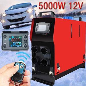 iYoung 12V 5KW Chauffage Diesel à air pour véhicule avec système de Chauffage électrique – Commande de Chauffe inférieure pour Thermostat LCD 4 Trous de Chauffage