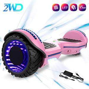 2WD Hoverboard 6.5 Scooter électrique de, Scooter électrique de équilibrage d'individu de 6.5 Pouces avec Les Roues Lumineuses, Orateur de Bluetooth,UL certifié – Moteur de 2 * 350W (Rose)