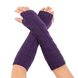 conqueror Hiver automne gants chauds gants en tricot à doigts Femmes hiver poignet manchette solide solide tricoté longs gants mitaines