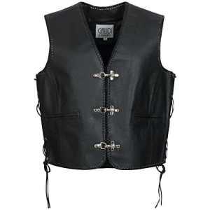 Gaudi-Leathers Veste Homme en Cuir Moto Biker Vest Gilet Crochet Mousqueton et Laçage Latéral XL