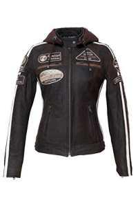 Urban Leather 58 Veste de Moto pour Femmes avec Protections, Marron Taille L