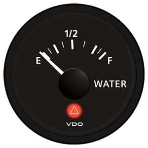 VDO Viewline Onyx Freshwater Gauge 12/24V – Use with VDO 10-180 Ohm Sender