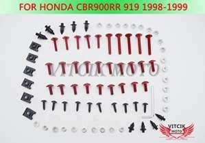 VITCIK Kits de boulons pour moto Honda CBR 900 RR 919 1998 1999 CBR 900 RR 919 98 99 attaches aluminium CNC (Rouge & Argent)