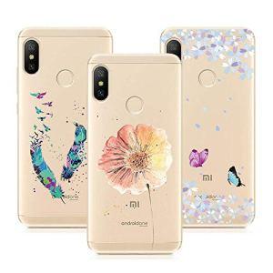 3X Coque Xiaomi Mi A2 Lite, Silicone Ultra Mince Transparente TPU Gel Souple Housse Étui Doux Slim Léger Antichoc Anti Rayure Protection – Papillon + Fleur + Plume