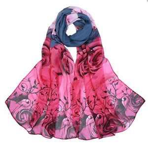 BaZhaHei Foulard Femme Voile Foulard Longue Châle Fleur Rose Echarpe Doux léger Respirant Echarpe en Mousseline de Soie(Rose grise,160 * 50cm)