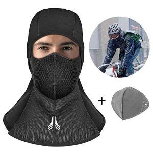 Cagoule Moto Balaclava, innislink Balaclava Ski Cyclisme Masque Moto Cagoule Coupe Vent Au Chaud Visage Capuche Taille Universelle pour Moto Randonnée Camping Ski Temps Froid – Noir