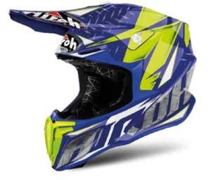Casque Motocross Airoh Twist Iron-Bleu (M, Bleu)