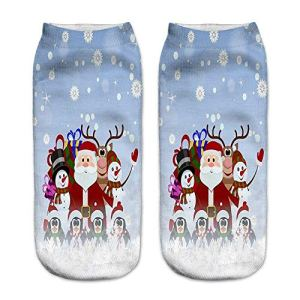 CIELLTE Femme Chaussettes Santa Noël en Coton Imprimé Motif Pack de Chaussettes Fantaisie Socquettes Socks Respirant Doux Hiver