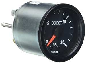VDO Vision Black 15 PSI Mechanical Boost Gauge – 12V