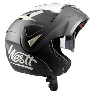 Westt® Torque · Casque Modulable de Moto Noir Mat avec Double Visière pour Hommes et Femmes · ECE Homologué