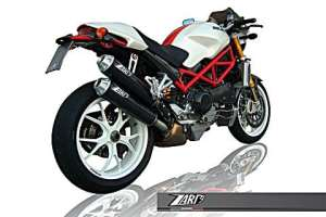 ZARD 167-040 ZARD-Auspuff Ducati Monster M S2R 800/1000-M S4R, Carbon, slip on, E-gepr., 2 Dämpfer rechts, Superposed