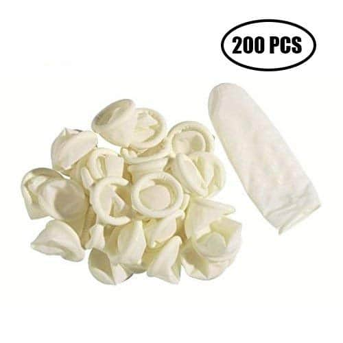 200 pièces de doigtiers en Latex, revêtements de protection anti-statiques en caoutchouc, gardant votre pansement sec et propre