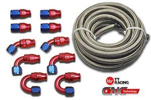 -8An8PTFE pivotant raccords en acier inoxydable et kit de tuyaux de carburant 6,1m