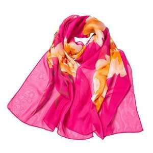 BaZhaHei Foulard Femme Fleur Impression Longue Echarpe Douce Foulard Châle Voile Foulards Dame Echarpe Elégant Léger(2-Rose Vif,160 * 50cm)