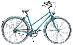 BYCLY Glamour 3V – City Bike pour Femme Moyeu à Vitesses Intégrées, avec Cadre en Acier à jointures, Transmission à Courroie sans Chaine 3 Vitesses, Vélo de Luxe Fabriqué en Italie (Tiffany Bleu)