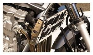 cache radiateur / grille de radiateur inox poli Suzuki GSF 650 Bandit 2007>15 design «Hold up» + grillage anti gravillon noir